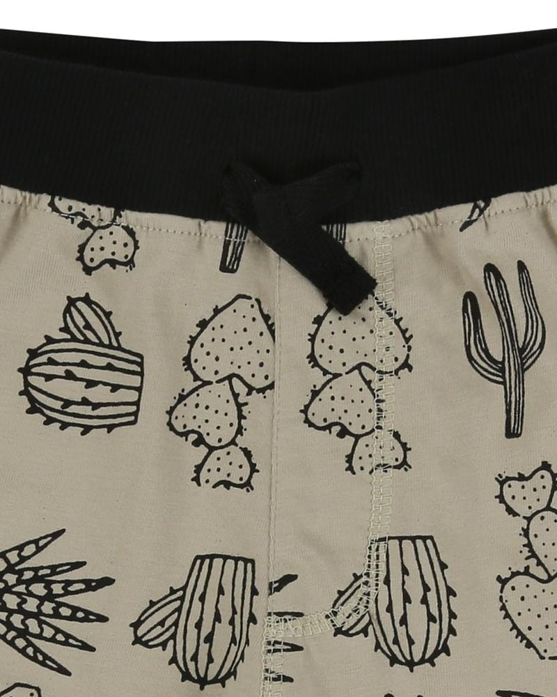 Easy Fit Shorts- Cactus Print - Turtledovelondon