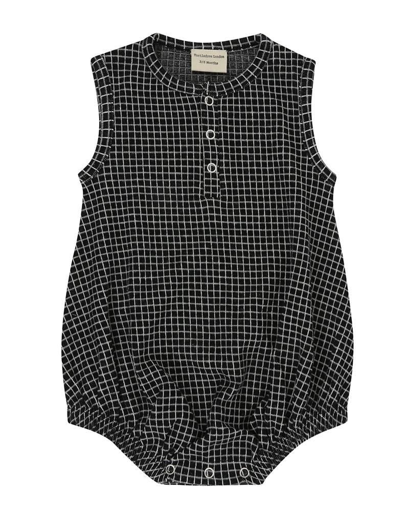 Grid Jersey Bubble Romper - Turtledovelondon
