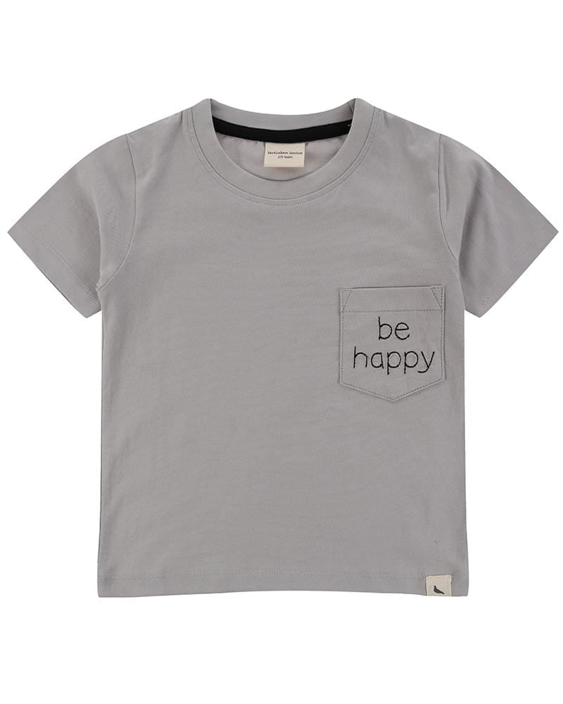 Happy Embroidered Pocket T - Turtledovelondon
