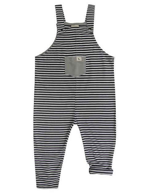 Monochrome Easy Fit Dungaree- Black stripe