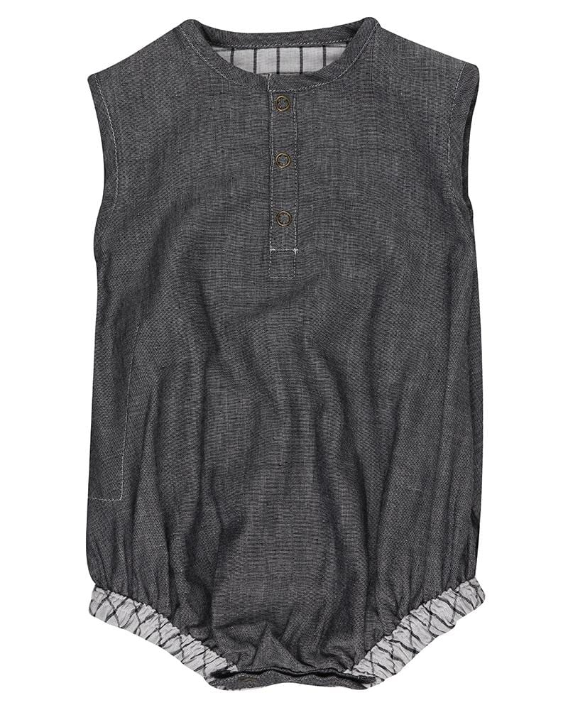 Check/Chambray Bubble Romper - Turtledovelondon