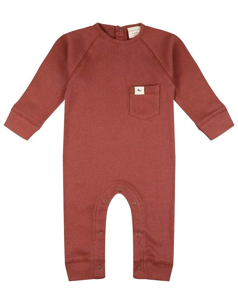 Rib Playsuit Brick - Turtledovelondon