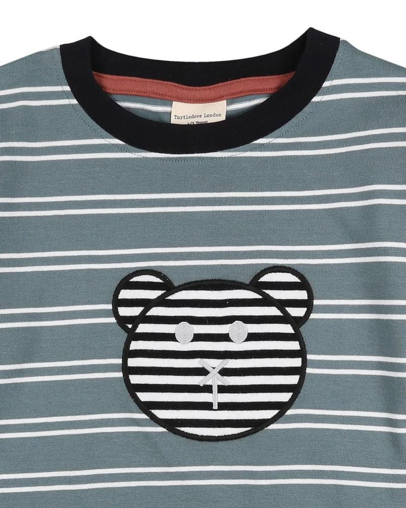 Steel Stripe Applique  Top - Turtledovelondon