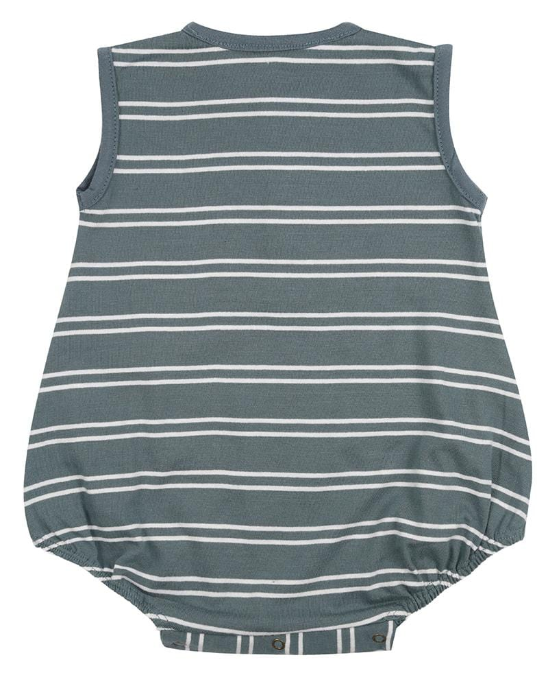 Steel Stripe Bubble Romper - Turtledovelondon