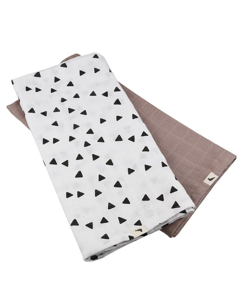 Organic Muslins - 2 pack Geometric Triangle AOP + Stone - Turtledovelondon