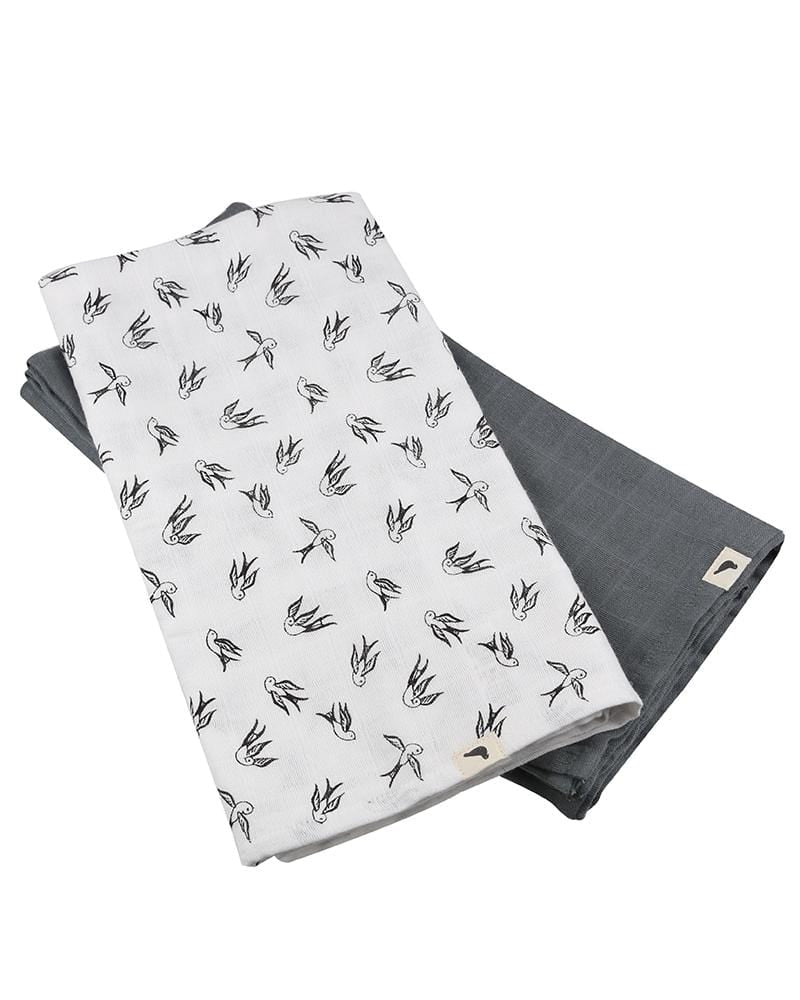 Organic Muslins - 2 pack Bird AOP + Steel - Turtledovelondon