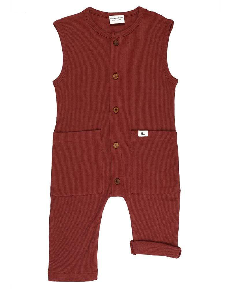 Rib Dungaree - Brick - Turtledovelondon