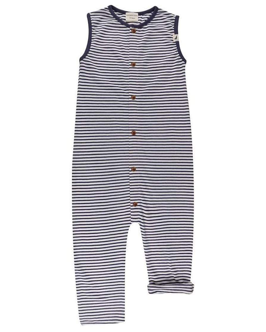 Navy/Ecru Stripe Dungaree