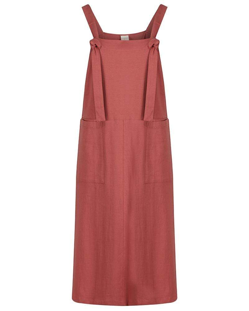 Ladies dungaree dress - Brick - Turtledovelondon