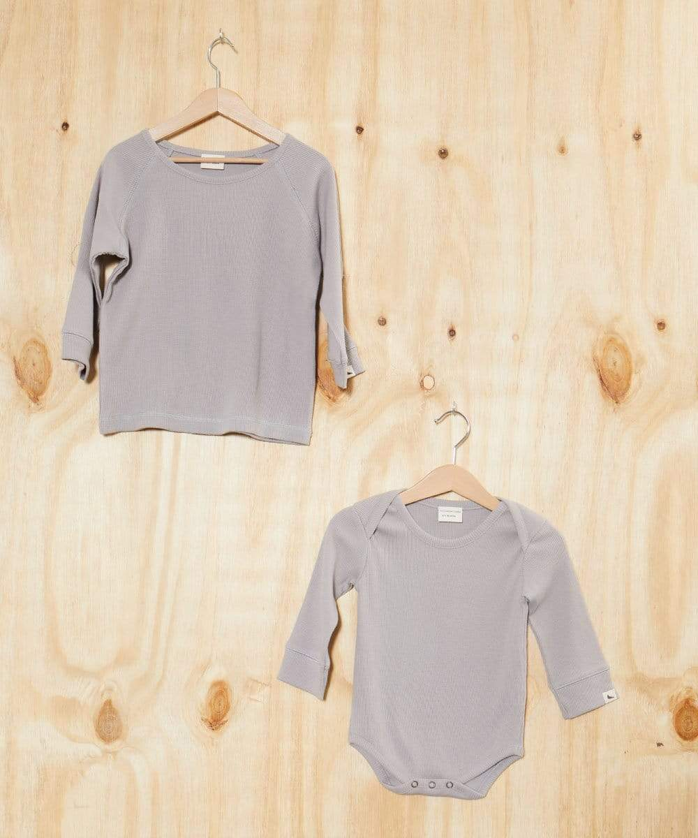 Grey Rib Bodysuit - Turtledovelondon