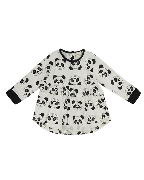 Monochrome Drop Hem Dress - Panda Print