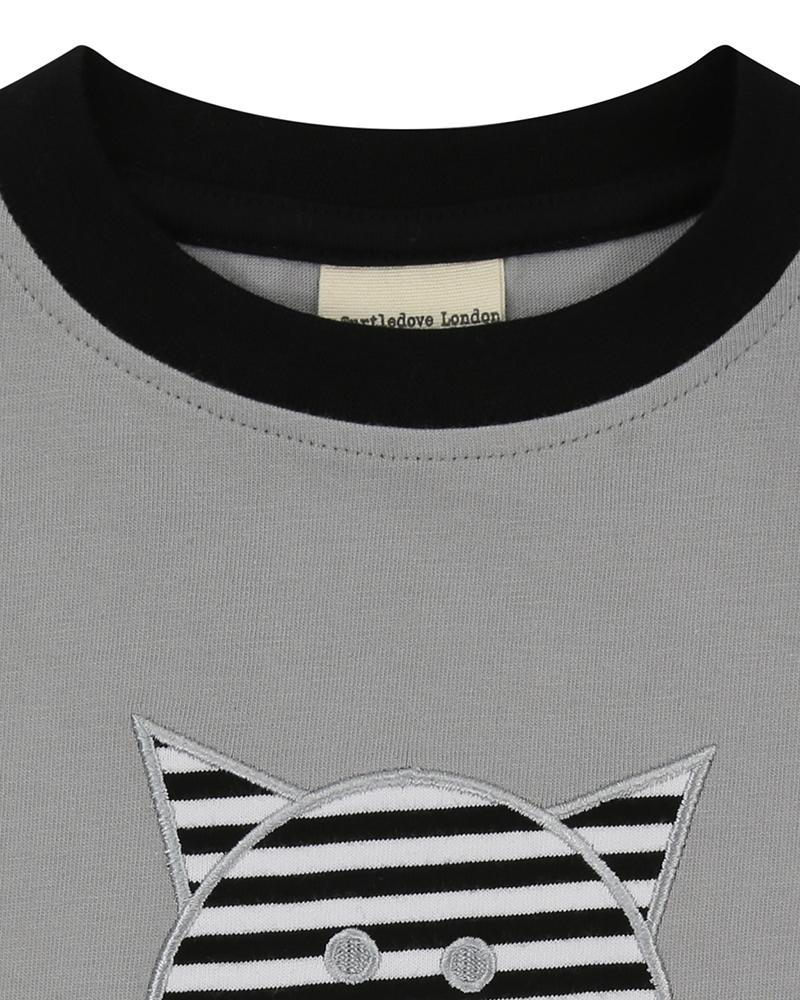 Cat Applique Drop Hem T