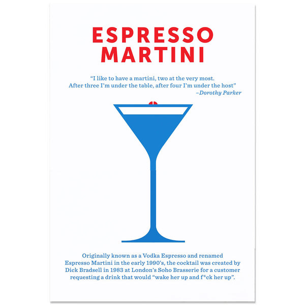 Crispin Finn Cocktail Screen Print - Espresso Martini