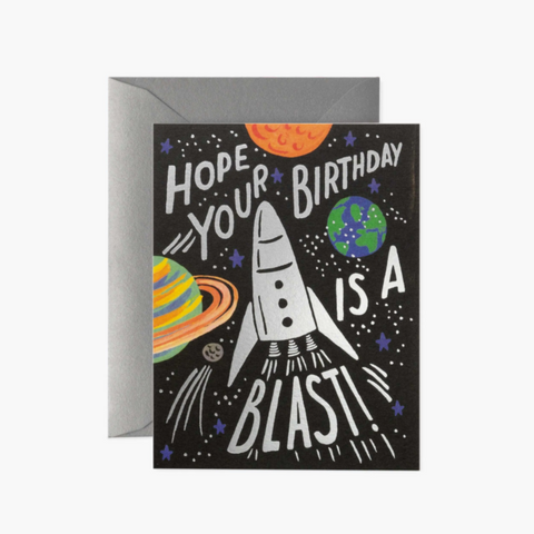 Space Rocket Birthday Greetings Card