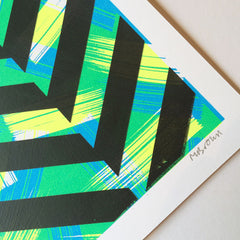 Close up of Brush screen print no.6