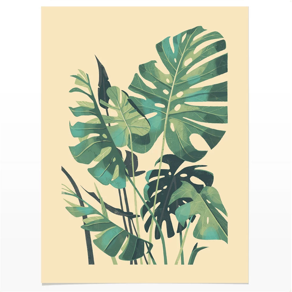 Watercolor Green Plants Monstera Nature Posters And Prints: Monstera Deliciosa Plant Print By Chris Turnham