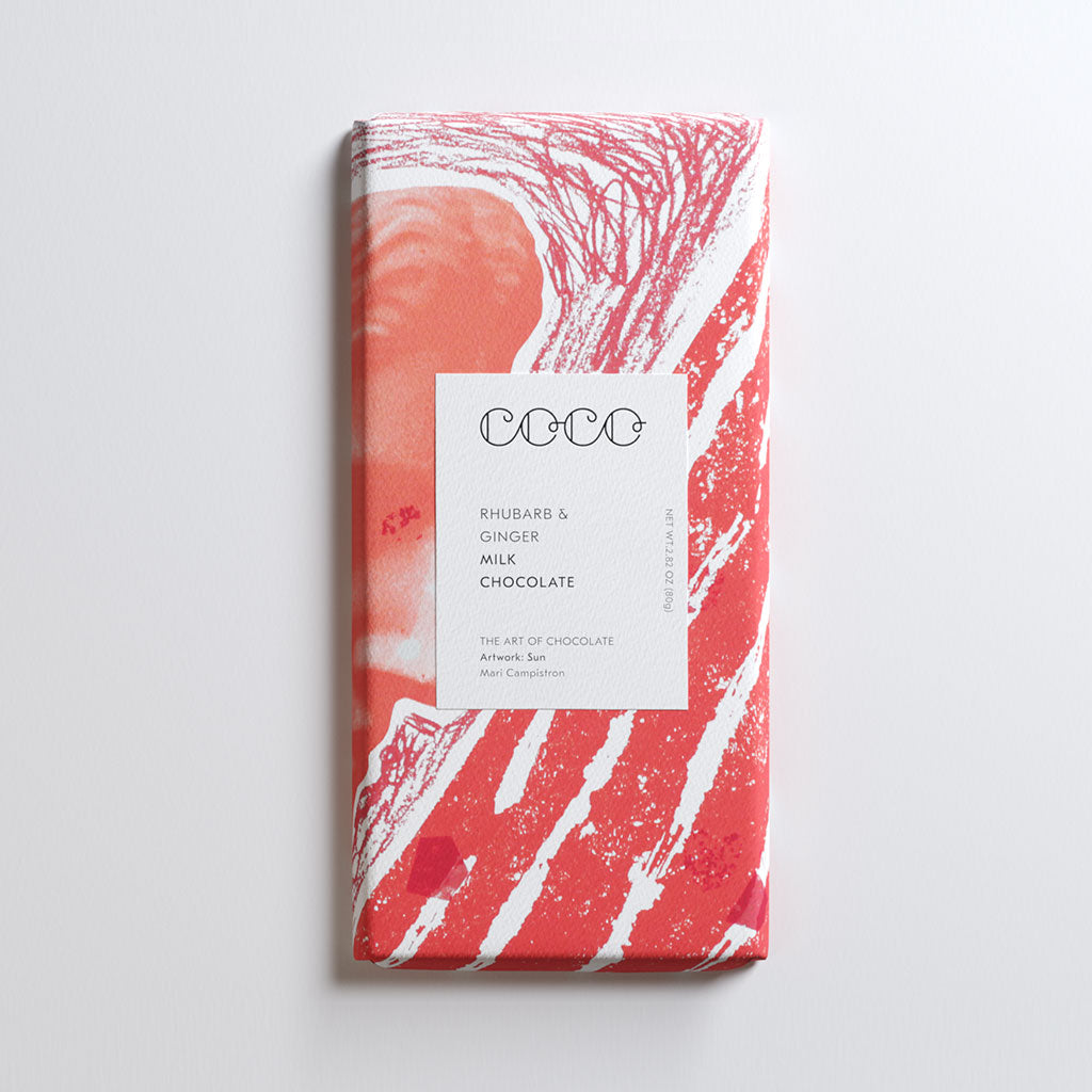 Rhubarb & Ginger Milk Chocolate Bar