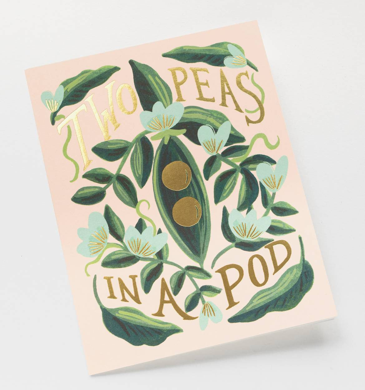 Angled shot of Rifle Paper Co Two Peas in a Pod gift card