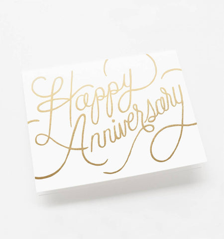 Angled shot of Rifle Paper Co Happy Anniversary gift card