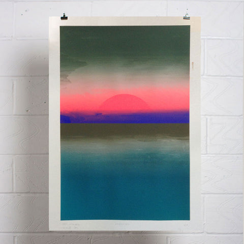 Neon Moonrise Phase 5 Screen Print