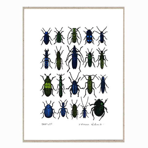 John Dilnot Blue Beetles mini print