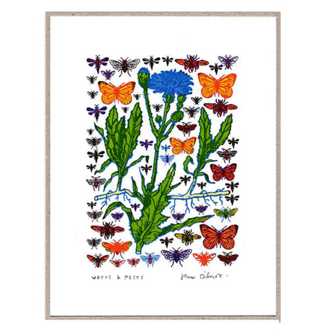 John Dilnot Weeds & Pests Blue mini print