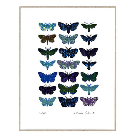 John Dilnot Blue Moths mini print