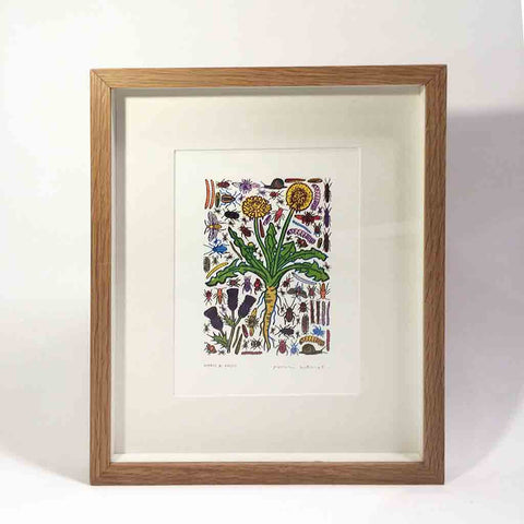 John Dilnot Weeds & Pests yellow framed mini print