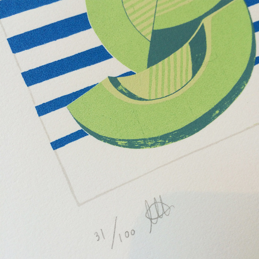 Close up of Sunshine Honeydew Screen Print