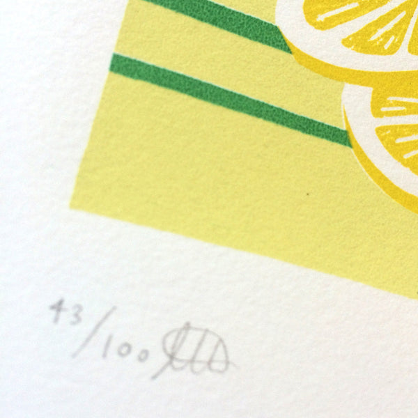 Close up of Sunshine Lemon screen print