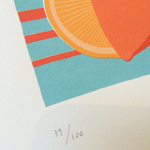 Close up of Sunshine Orange screen print