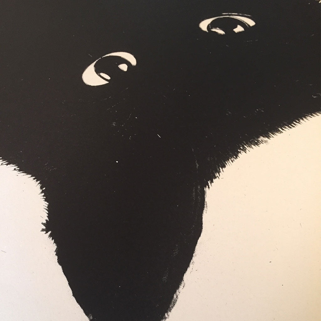 Close up of Le Gun Cat screen print