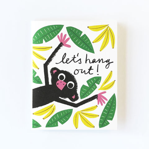 Let's Hang Out Monkey Greetings Card