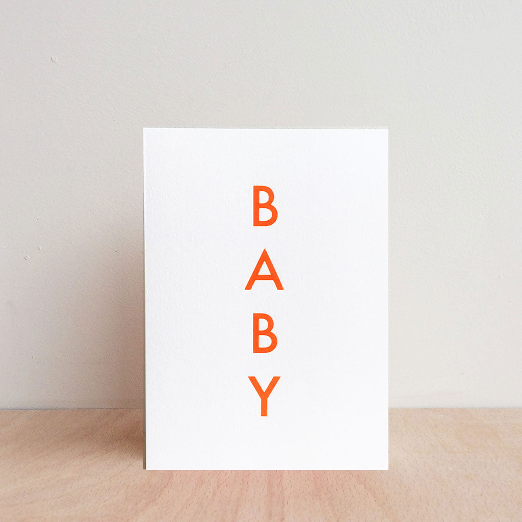 Foil Blocked 'Baby' Greetings Card Fluoro Orange