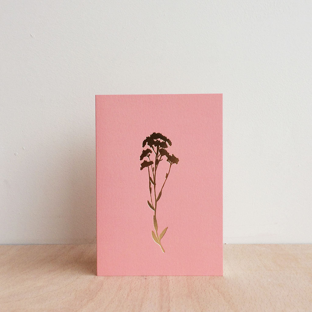 Foil Blocked Alyssum Botanical Greetings Card