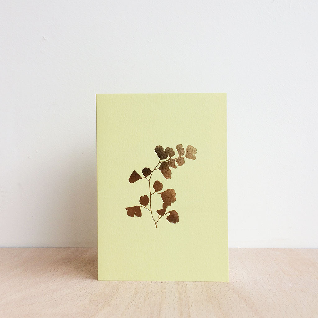 Foil Blocked Fern Botanical Greetings Card