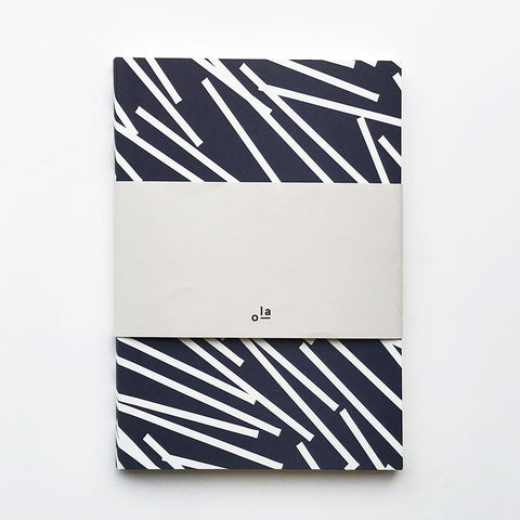 Medium Notebook Navy Lines Pattern