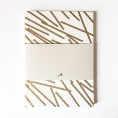 Medium Notebook Gold Lines Pattern