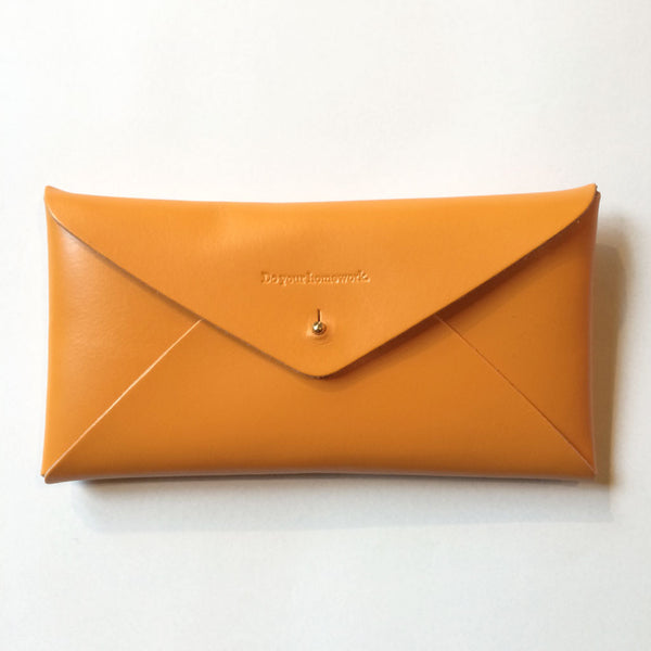 Leather Embossed Envelope Case Mustard