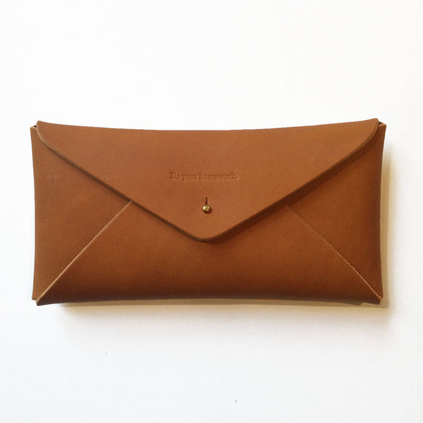 Leather Embossed Envelope Case Tan