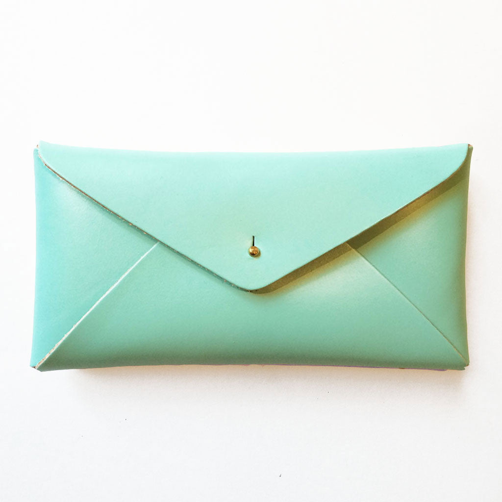 Leather Envelope Case Spearmint Blue