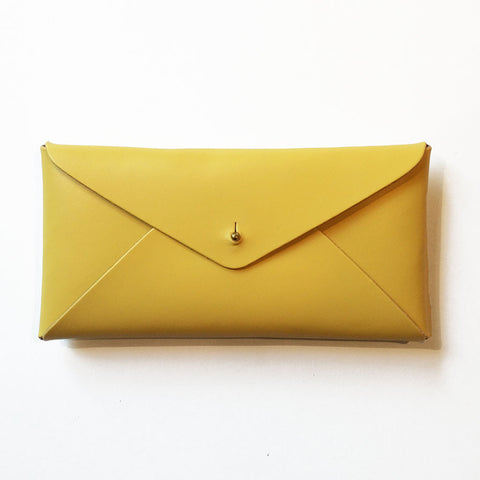 Leather Envelope Case Lemon Yellow