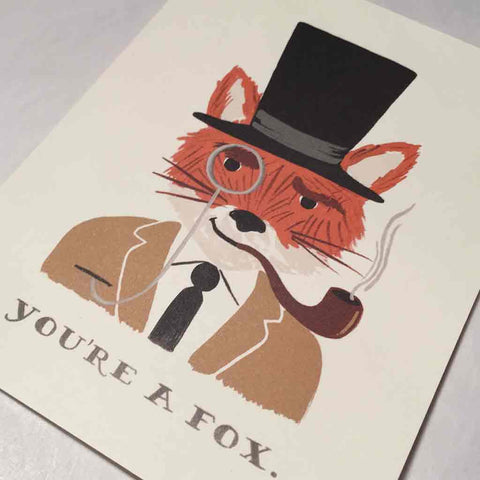 Angled shot of Rifle Paper Co You're a Fox! gift card