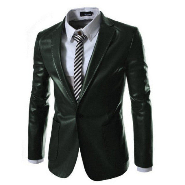 Men leather Jacket Suit Blazer Coat