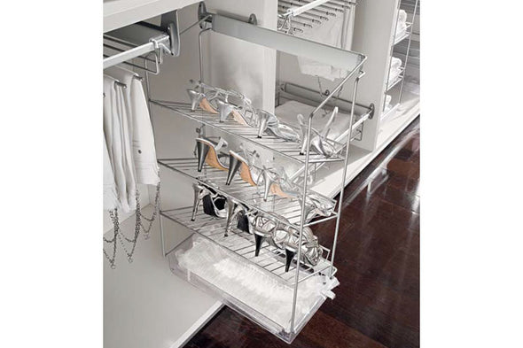 Copy of Wardrobe Pull-Out Shoe Rack 3-Tier Silver Finish