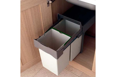 PWS Pull Out Waste Bin 28Litre Plastic Light Grey Dark Grey Lid
