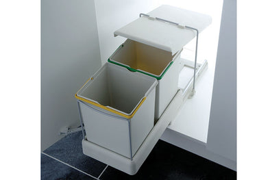 PWS Automatic Pull-out Waste Bin  2 x 10.5 litres Light Grey