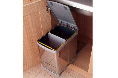 PWS Pull-out waste bin 20L stainless steel with grey lid