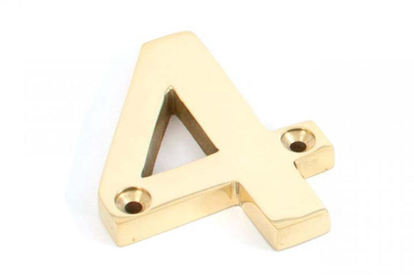 From the Anvil Polished Brass Numeral 4