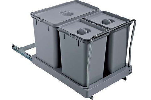 Hafele Pull-Out 34 Litre Waste Bin Grey Plastic